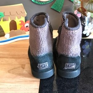 "UGG Shoes - Toddler Girls Black With ""Sweater"" Top UGG Boots"